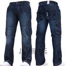 New Mens Designer Dark Cargo Combat Denim Jeans Pants All Waist & Leg Sizes BUDD