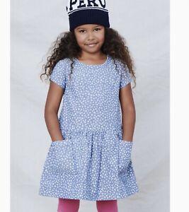 Tea Collection Girls Blue Woven Pocket Dress Size 6