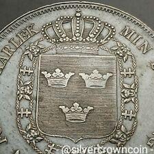 SCC Sweden Riksdaler Sp. 1842 AG. KM#655. Silver Crown Dollar. Carl XIV. 1 year