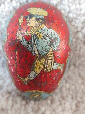 "Antique 1800s Vintage 2.75"" Tin Litho Easter Egg Candy Holder German Russian"