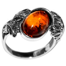 3.93g Authentic Baltic Amber 925 Sterling Silver Ring Jewelry N-A7147