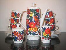 1960's psychedelic vibrant Colditz coffee set funky floral vintage retro