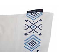 LEXINGTON AUTHENTIC COLLECTION EMBROIDERED STANDARD PILLOWCASE WHITE / BLUE