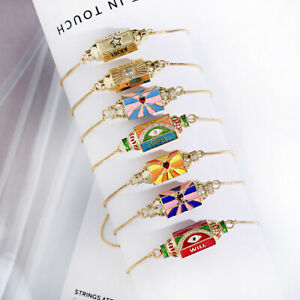 Luxury Gold Snake Chain Wrist Cuff Hexagon Heart Lucky Charms Jewelry for Woman