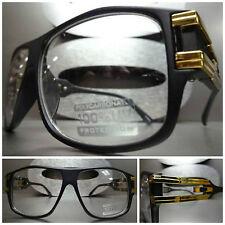 VINTAGE RETRO PARTY RAVE CLUB Clear Lens EYE GLASSES Matte Black & Gold Frame