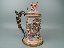 Very Large Best Quality Capodimonte Beer Stein w Figural Bronze Handle Pc