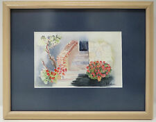 French Impressionist Landscape Watercolor Painting signed Madame Lardeur Framed