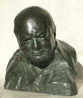 Winston Churchill signed Nemon Wartime Leader 85% Bronze Resin Bust