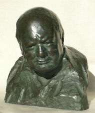 Winston Churchill signed Nemon Wartime Leader 85% Bronze Resin Bust