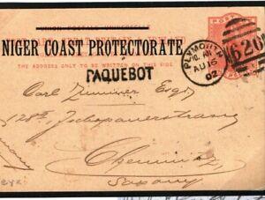 NIGER COAST PROTECTORATE Stationery Card Old Calabar Plymouth PAQUEBOT 1902 O81a