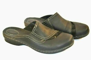 Women's CLARKS Black Leather Mule Slip On Loafers Slides 9W