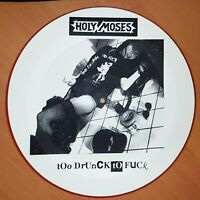 """Holy Moses Too Drunk To Fuck 12"""" Vinyl Picture Disc Limited Edition Red Rim 1990"""