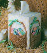 EASTER BASKET BOUTIQUE TISSUE BOX COVER PLASTIC CANVAS PATTERN INSTRUCTIONS