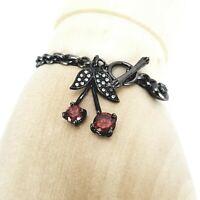 "Juicy Couture Cherry Gemstone Charm Toggle Gold Tone Petite Bracelet 7.25"" wrist"