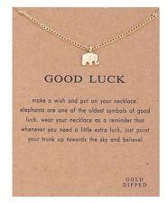 Collar Colgante de elefante buena suerte con la tarjeta de mensaje Regalo Navidad Cumpleaños