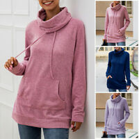 Women Drawstring Pocket Cowl Neck Hoodie Sweater Pullover Sweatshirts Blouse Top
