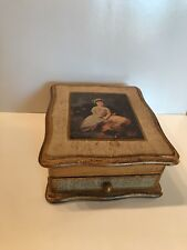Fashioned By Farrington Jewelry Box Wooden Made In Japan Girl & Lamb picture