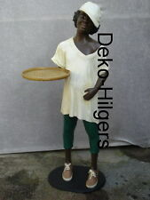 Black Boy Diener Kellner Butler Statue Afrika Figur Skulptur Mädchen Groß Dek 38