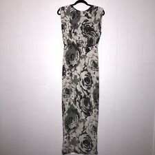 Line And Dot Women's Floral Maxi Dress Cap Sleeve Lace Back Cream Black S NWT