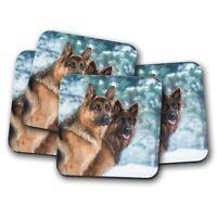 4 Set - German Shepherd Dogs Coaster - Dog Puppy Alsatian Pet Animal Gift #15520