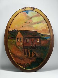 Historic California Painting by William Wilke - San Francisco's 1st Schoolhouse