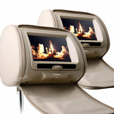 "2x 7"" Digital Screen Car Pillow Headrest LCD Monitor DVD Player USB Game Beige"