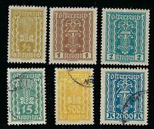 1922-1924 Austria 1/2k, 1k, 2k mint Lh Ng &15k, 500k & 2000k used stamps