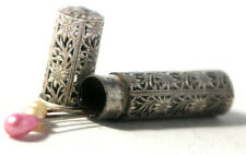 SEWING Filigree NEEDLE CASE ORIGINAL  c1800 VICTORIAN SILVER ANTIQUE hallmarked