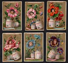 Girls Heads In Flowers 1890 Liebig Cards Set Inc Rare English Language Card S267