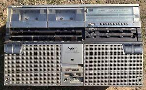 Sharp GF-555 Vintate Boom Box Double Cassette Deck Radio Recorder