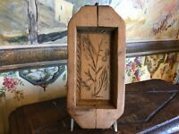 Antique 19thC French Wood Butter Mold Stamp Print Carved Foliage Box Farmhouse