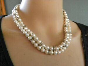 """LOT OF (2) GENUINE PEARLS & SWAROVSKY CRYSTAL BEADED STERLING NECKLACES 17"""""""