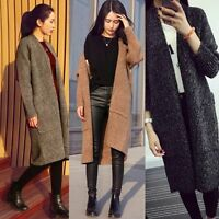 2018Women's Windbreaker Outwear Warm Wool Slim Long Coat Jacket Trench Parka