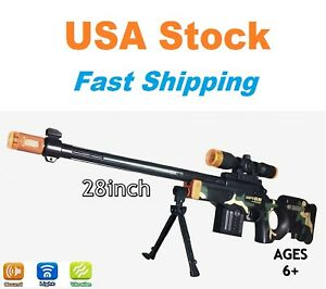 Light Up Combat Sniper Rifle Toy, Battery Operated with Military Sound, 28''