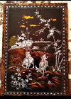 Vintage old painting under varnish on wood Vietnam 1950 mother of pearl all in