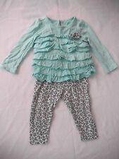Koala Baby green ruffle leopard print long sleeve pants outfit s:9mo 100% cotton