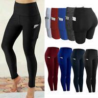 Women High Waist Yoga Leggings Pocket Fitness Sport Gym Workout Athletic Pants N