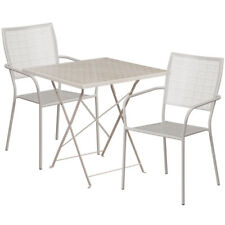 28'' Square Light Gray Indoor-Outdoor Steel Folding Patio Table Set with 2 Sq.