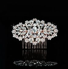 Wedding Bridal Rose Gold Crystal Classic Hair Comb Diamante Headpiece Vintage