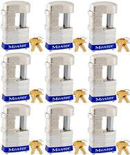 Lock Set by Master 37KA (lot of 9) Keyed Alike Shrouded Laminated Padlocks New