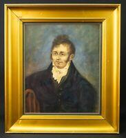 c1810 English Regency Gentleman Portrait Watercolour Antique Georgian Painting