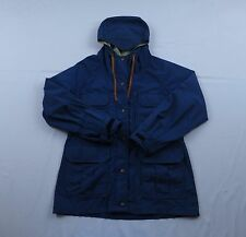 Vtg Mens REI Co-op Blue Hooded Parka Camping Hiking Full Zip Jacket Coat Sz S