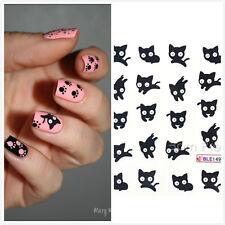 Manicure Nail Art Water Decals Transfers Sticker Mini Black Cat Pattern