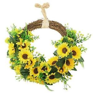 Artificial Sunflower Wreath Hanging Autumn Front Door Garland 18'' Half-round