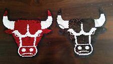 Großer Aufnäher Bulle Stier mit Wende-Pailletten rot / schwarz Patch Basteln