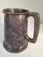 R.M.S. Queen Mary Stein Beer Pewter Mug bottom glass itched image England 1930's