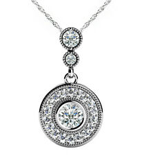 18k White Gold Round Shape Diamond Women's Pendant GIA Certified 1.90 Carat