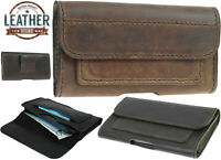HORIZONTAL HAND SEWN OF GENUINE LEATHER WAIST POUCH CASE COVER FOR MOBILE PHONES