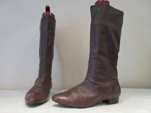 KANGOL BROWN LEATHER LONG PULL ON BOOTS UK 7 EU 40 (3602)