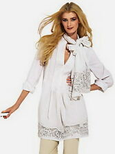 new - size M (10) cotton blouse tunic & scarf lace embroidery OTTO